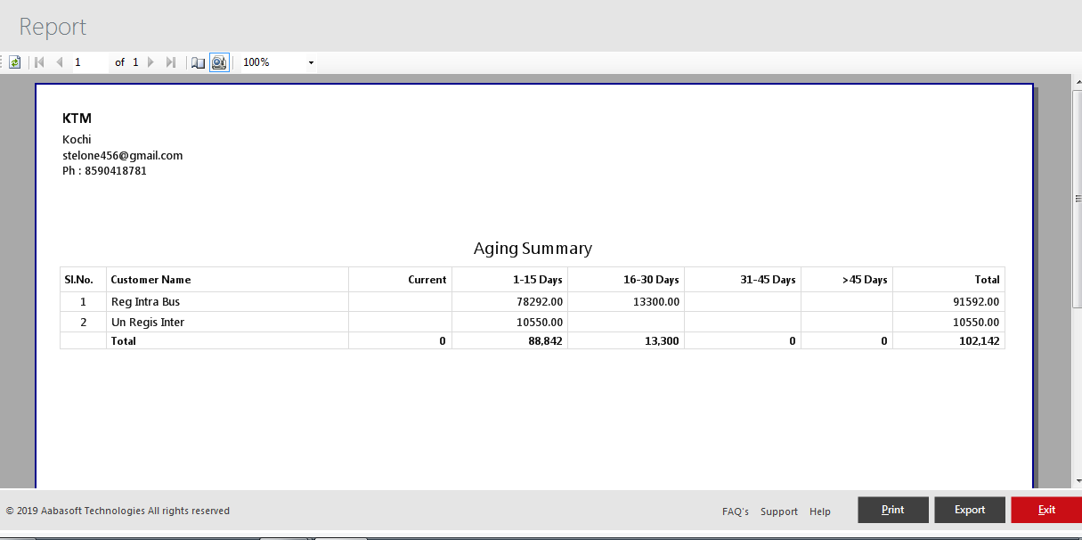 Aging Summary Report View