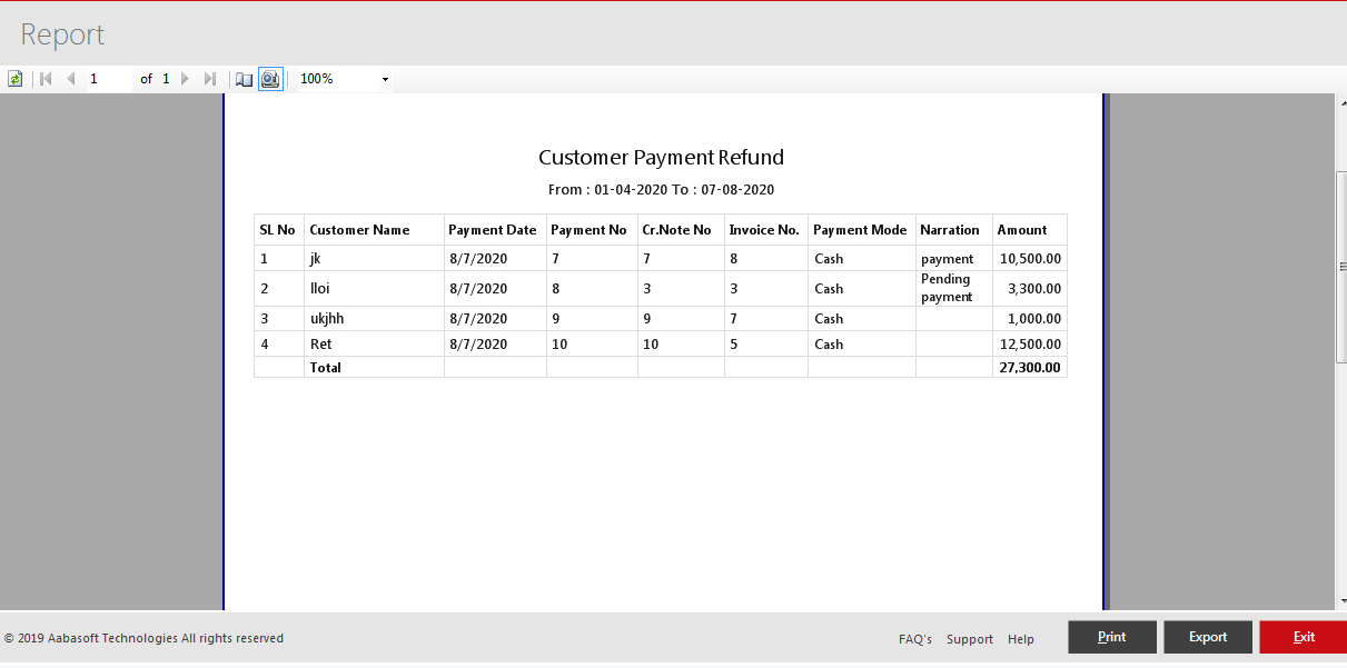 Customer Payment Refund Print View