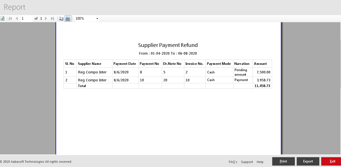 Menus Available In Print View Refund Report