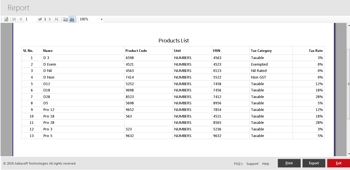 Product List Print View
