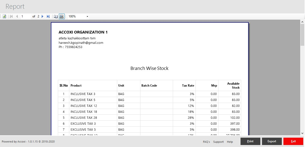 Branch Wise Stock View