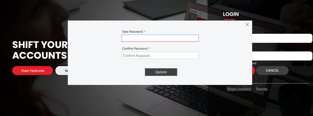 How to setup new password in Accoxi